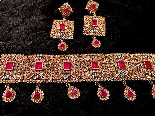 Malika polki Ruby Choker with Earrings and Tika