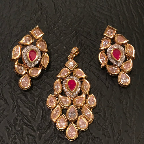 Sonya kundan pendant and earrings