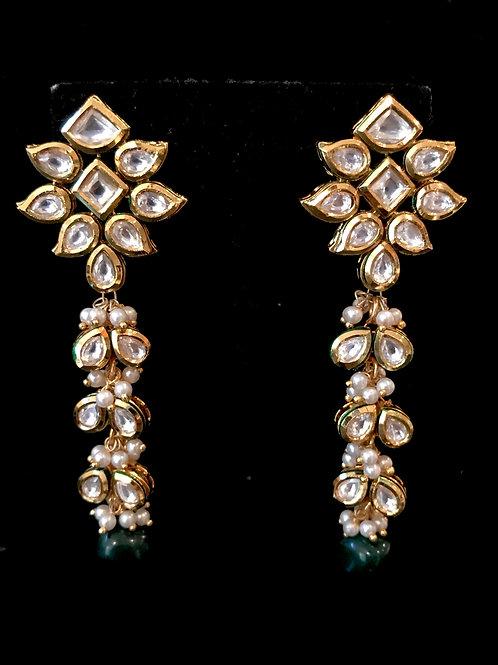 Flower top Kundan emerald Earrings
