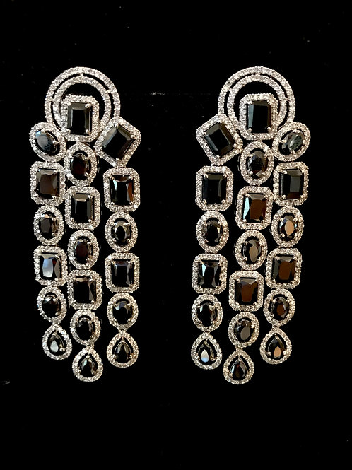 Square oval onyx 3 strands earrings