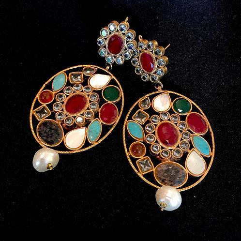 Ruby Turquoise Emerald & Pearl Circle Drop Earrings