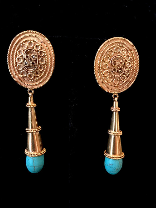 Turquoise drop 22k gold plated Egyptian style Earrings