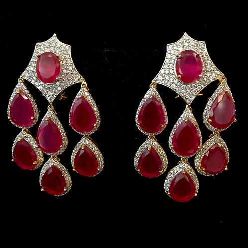 Just rubies and CZ Earrings