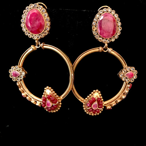 Untreated ruby 22k Gold played bali hoops