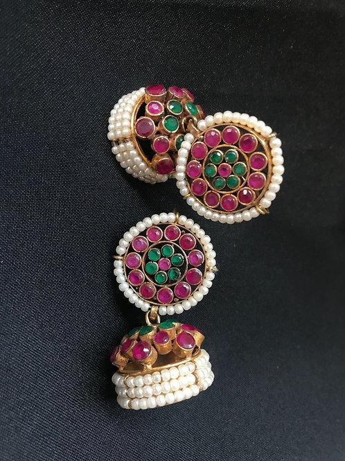 Ruby, Emerald, & Pearl Jhumka Earrings