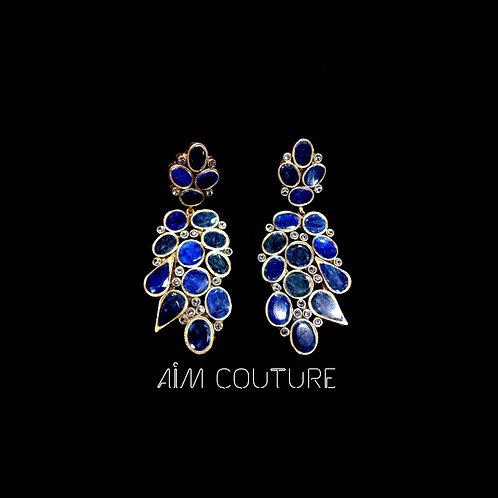 Sapphire Long Statement Earrings