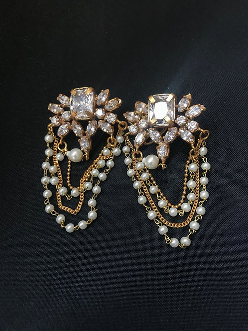 Diamond & Pearl Multi Strand Earrings