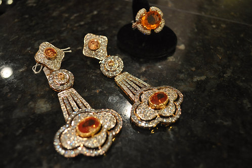 Honey dew sterling silver CZ and topaz earrings