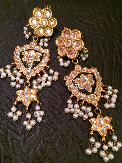 Zarin Kundan dark Meena earrings