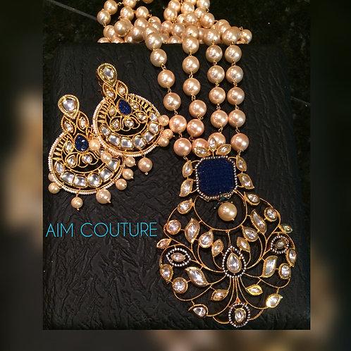 Tajj kundan yellow pearls Necklace and earrings