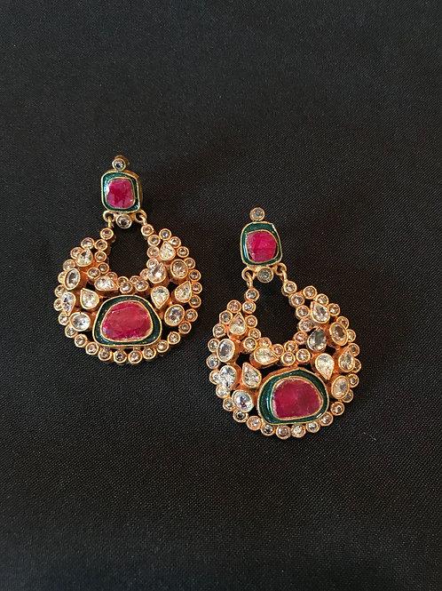 Ruby & Emerald Kundan Chand Earrings