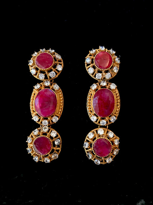 Untreated Ruby Egyptian style Earrings