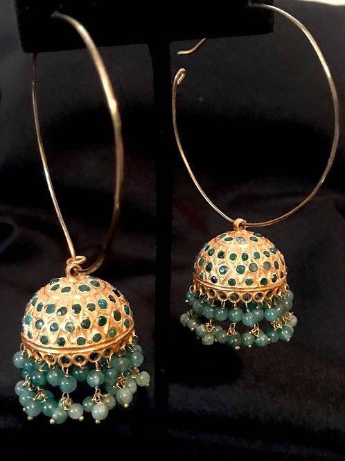 Large Emerald Jhumka Bali Earrings
