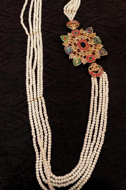 Shah Banu Kundan Meena Faux Pearl Necklace