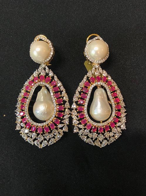 Ruby Baroque Pearls & Swarovski Crystals Statement Earrings