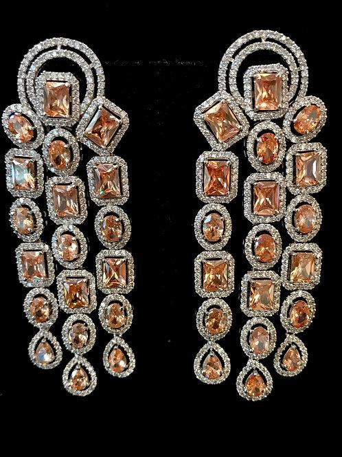 Square oval topaz CZ 3 strands earrings