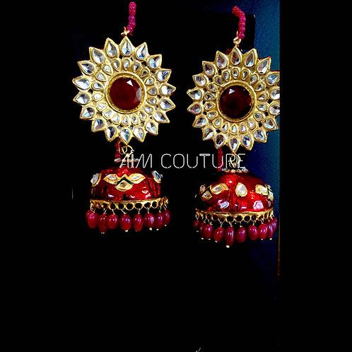 Ruby Kundan Jhumka Earrings