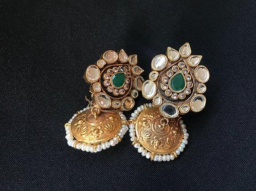 Traditional Emerald Kundan & Pearl Teardrop Jhumka Earrings