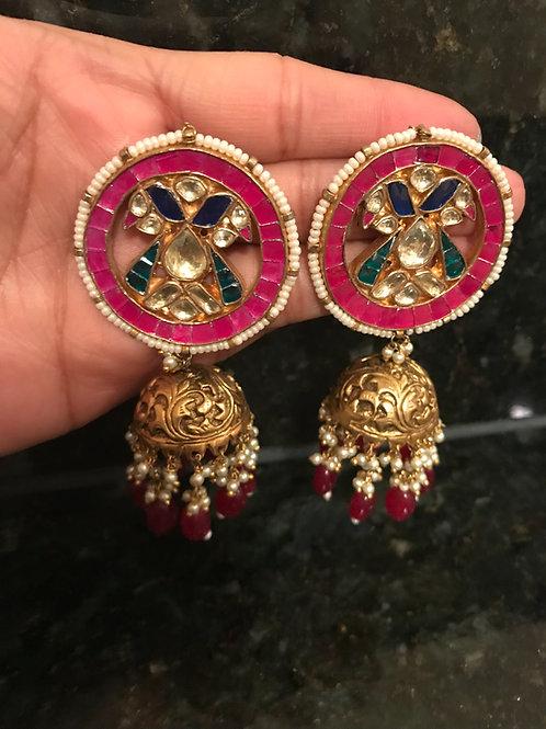 Rangeen Moor Jhumka Earrings