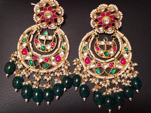 Shamila kundan emerald Chand Bali