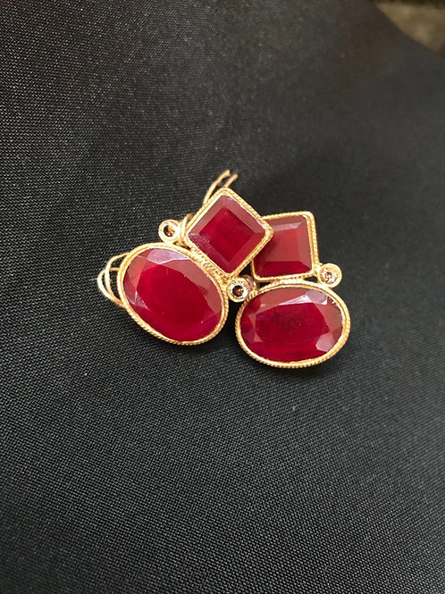 Ruby Square & Oval Earrings