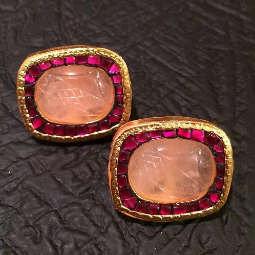 Ara gold filled Rose quartz studs