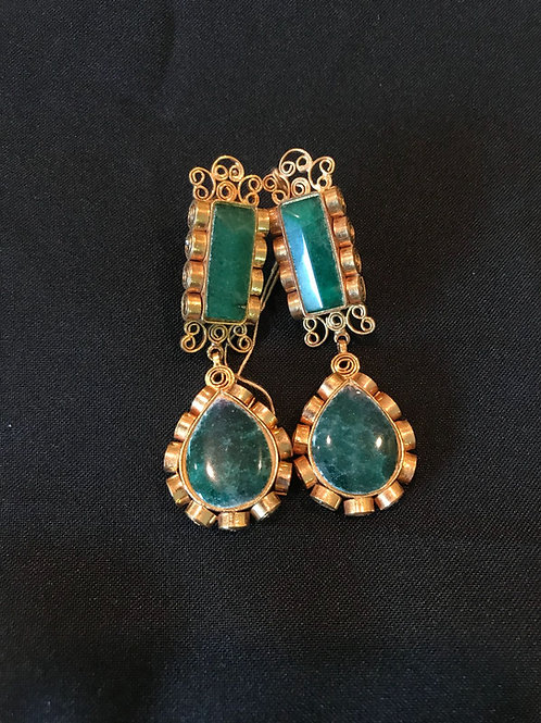 Emerald Bar Drop Earrings