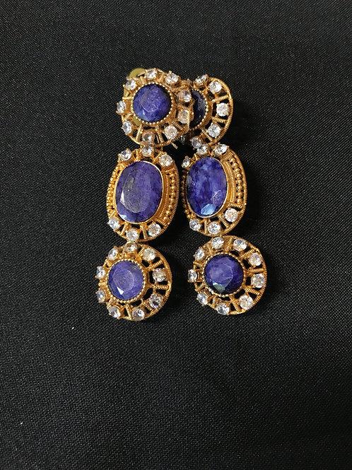 Sapphire 3 Tier Circular Earrings