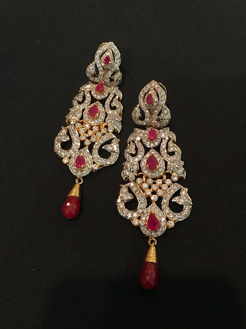 Ruby Zircon Victorian Style Long Statement Earrings