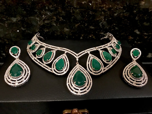 Liz Emerald Necklace and Earrings