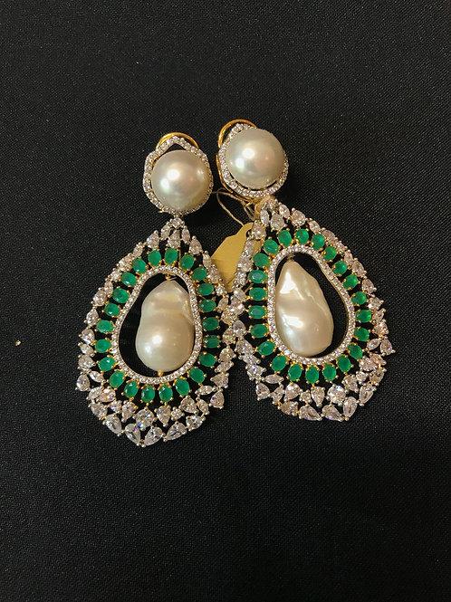 Emerald Baroque Pearls & Swarovski Crystals Statement Earrings