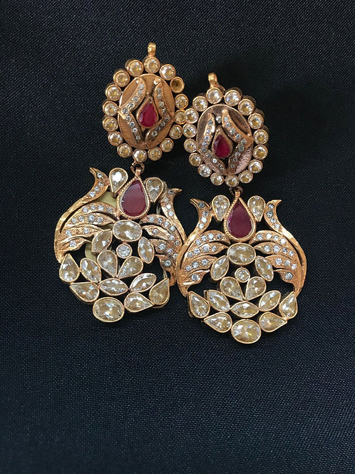 Ruby 2 Tier Statement Earrings