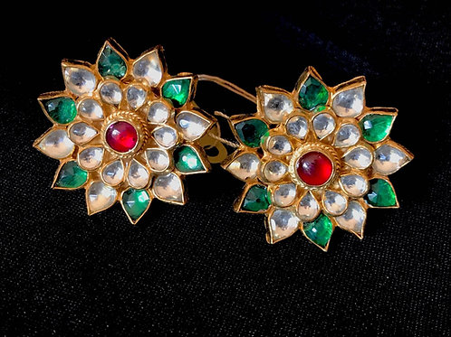 Ruby & Emerald Kundan Flower Earrings