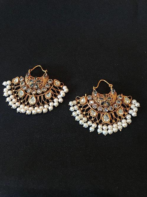 Pearl Kundan Chandbali Earrings