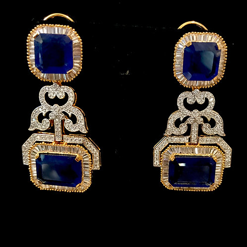 Square sapphire CZ Earrings
