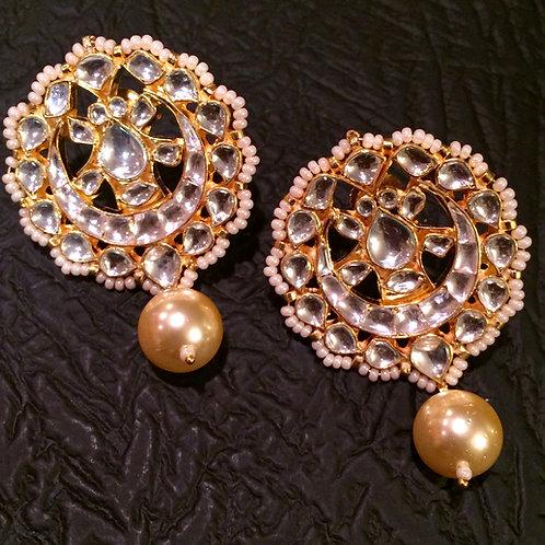 Dania Kundan yellow pearl Earrings