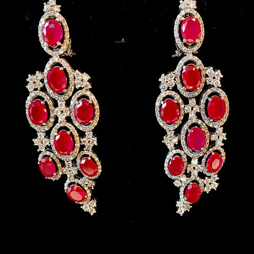 Ruby and CZ grapevine Earrings
