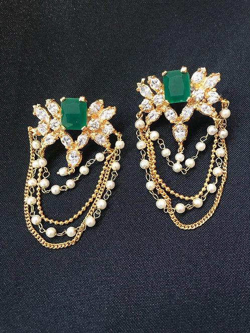 Emerald & Pearl Multi Stand Earrings