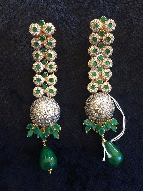 Juhi CZ and emerald earrings