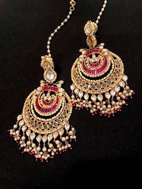 Ruby Kundan Kaan/Ear Chain Earrings