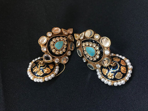 Turquoise Kundan & Pearl Teardrop Jhumka Earrings