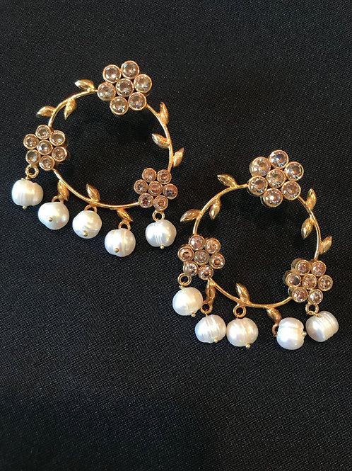 Circular Leaf & Flower Pearl Droplet Earrings