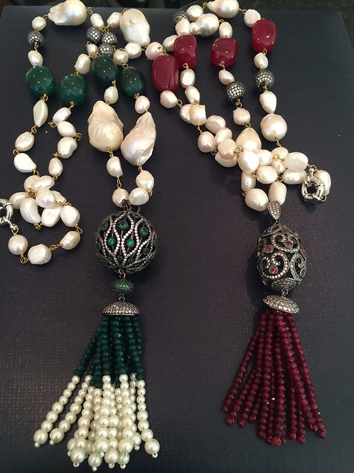 Ottoman Real Pearl Tassel Necklace