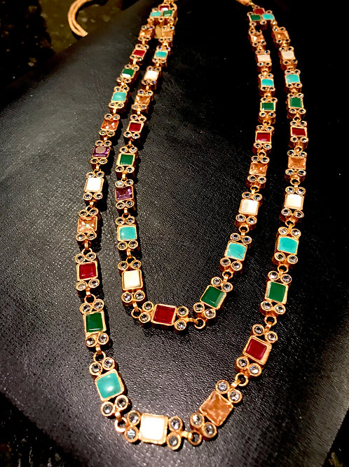 Lindsey Multicolor Double Strand Necklace