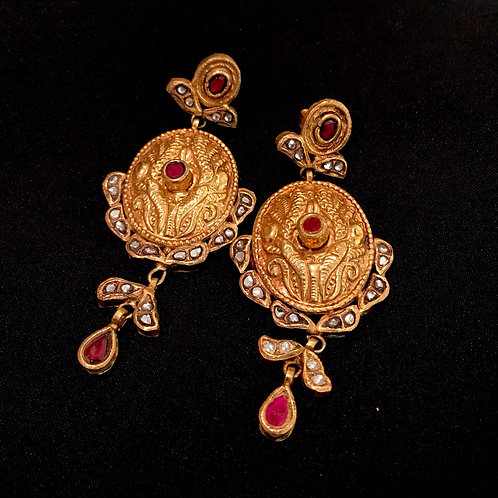 Ruby & Gold Medallion Drop Statement Earrings