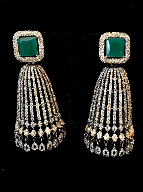 Emerald square top with CZ skirt Earrings