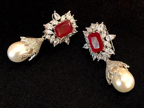 Ruby Diamondesque Pearl Drop Earrings