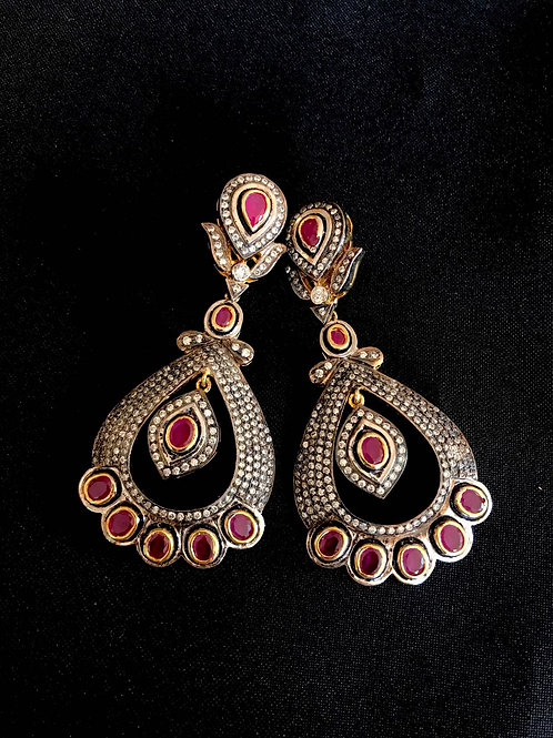 Ruby Zircon Drop Statement Earrings