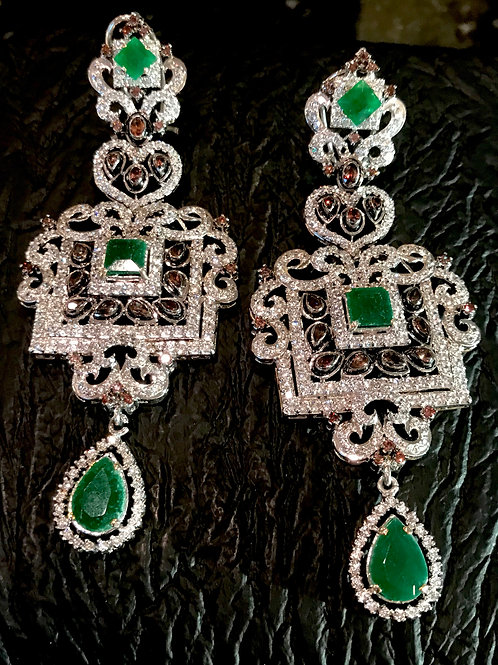 Coco emerald sterling silver earrings