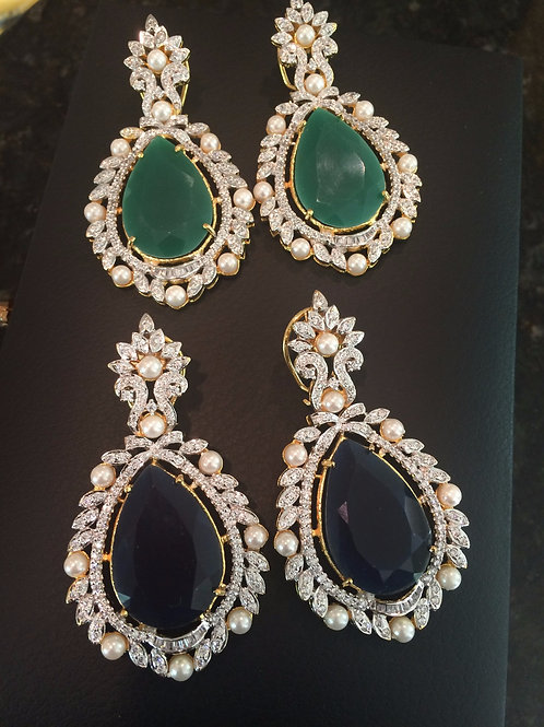 Jolie pearl and CZ earrings